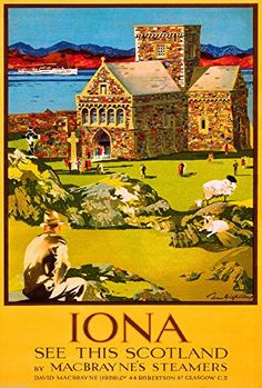 Iona Scotland Scottish Great Britain Vintage Travel Advertisement Art Poster #vintageposter #Scotland #Iona