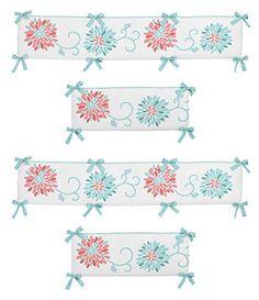 Nursery 3D Wave Print Crib Bedding Bumper Liners for Boys Girls 4 Pieces//Set White Crib Bumper Pads For Standard Crib