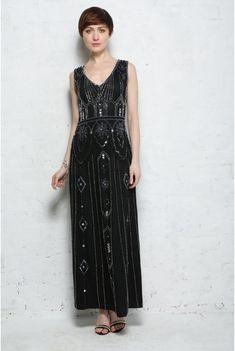 6ddb85244306 Art Deco Maxi Dress Rock My Vintage rockmyvintage.com 108.00 Vintage Kjoler