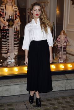 Amber Heard.. Temperley London Marais Shirt.. just add black culottes and lace-up shooties..