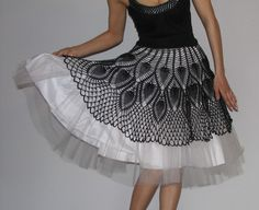 Unique Tutu crochet Skirt Black and white by kovale on Etsy