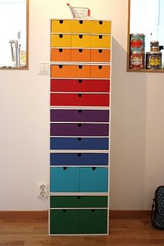 Love this rainbow stacked tower of Ikea drawers by Ina of the blog Sak och bild. Too bad Ikea doesn't make this line (or even anything similar) anymore. ~ajs
