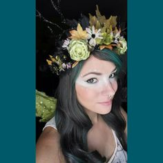 Check out this item in my Etsy shop https://www.etsy.com/listing/458823032/black-and-green-woodland-fairy-flower