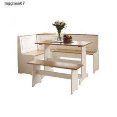 3 Piece Dining Set White Base Kitchen Furniture Nook Breakfast Dining Tables