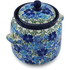 Polish Pottery 6-inch Jar with Lid and Handles   Boleslawiec Stoneware   Polmedia H2176H   Polmedia