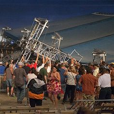 Stage collapse at Sugarland concert at the Indiana State Fair. While I got weary of seeing some of the images, what always got me is how some of the people ,who could have been victims themselves, rushed to the stage to lift it for the first responders so they could get to the victims. Never have I been more proud to be a Hoosier at that moment.