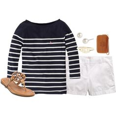 navy blue breton striped tee + white chino shorts and leather sandals