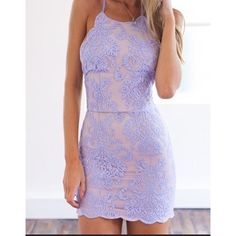 Lavender and lace tight mini dress Form fitting beautiful lace dress that ties to accentuate your beautiful curves Dresses Mini