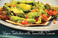 Vegan Tostadas with Tomatilla Sauce #vegan #recipes