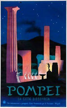 Pompei | La citta dissepolta | Vintage travel poster |