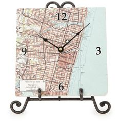 Screencraft Tileworks (& Gifts) LLC Personalized Map Clock (2 400 UAH) ❤ liked on Polyvore featuring home, home decor, clocks, wall clock, map wall clock, home wall decor, map compass rose and boat compass