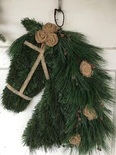 This item is unavailable Frosted Berries Burlap Horse Wreath Noel Christmas, Country Christmas, Christmas Wreaths, Christmas Decorations, Xmas, Christmas Ornaments, Advent Wreaths, Burlap Christmas, Nordic Christmas