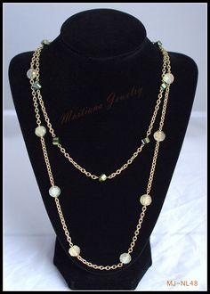 Light Yellow, faceted Green beads with gold colored chain, 2-strand necklace  http://MartianaJewelry.etsy.com