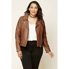 Forever21 Plus Size Moto Jacket (1,335 INR) ❤ liked on Polyvore featuring outerwear, jackets, brown biker jacket, plus size biker jacket, brown jacket, women's plus size jackets and plus size motorcycle jacket