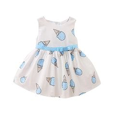 Toddler Baby Girls Ice Cream Printed Dresses, VENMO Child Cute Sleeveless Dress Clothes (0-6 Months, Light Blue)