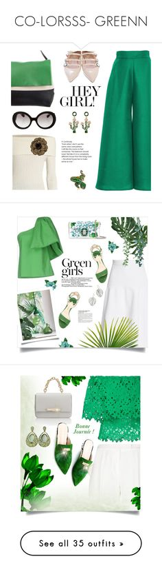 """CO-LORSSS- GREENN"" by berrypoplife ❤ liked on Polyvore featuring Paper London, CÉLINE, Fendi, The Row, Chanel, Prada, Victoria Beckham, Rosie Assoulin, Dolce&Gabbana and Paul Andrew"