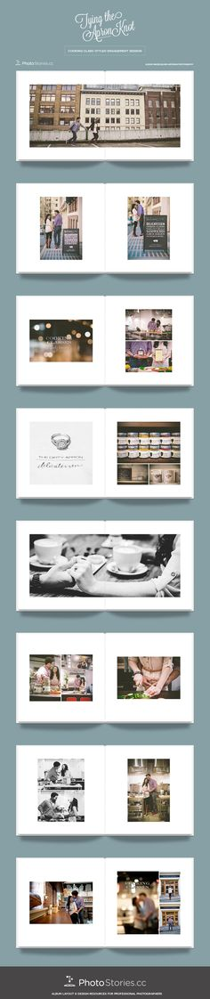 Looking for inspiration for your next album design? Look no further than this unique cooking class engagement session by Blush Wedding Photography. The pages feature the perfect mix of variety, emotion, and attention to detail we've come to love from Blush. Custom-designed with B-Squared templates for InDesign by Photo Stories. | More inspiration awaits at photostories.cc . Wedding Album Cover, Wedding Album Layout, Album Design, Book Design, Layout Design, Editorial Layout, Editorial Design, Book Layouts, Photo Books