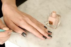 Simple black coat with pale line. Cuticle Care, Nail Care, Hair And Makeup Tips, Hair And Nails, Nail Trends, Makeup Trends, Beauty Nails, Hair Beauty, Estee Lauder