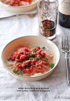 Sweet Potato & Sage Ravioli w/ Turkey Cranberry Bolognese! Yum!