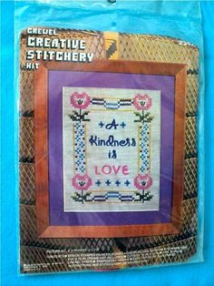 "Vintage - A Kindness is Love - Stamped Cross Stitch Crewel Kit - 8"" x 10"" by DocksideDesignsEtc on Etsy"