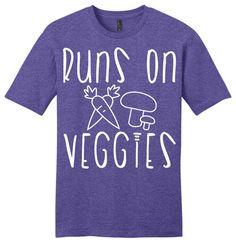 Runs on Veggies Shirt, Funny T shirt, Funny Shirt, Vegan Shirt, Tee Shirt, T Shirt Mens, Ladies on Etsy, $14.99