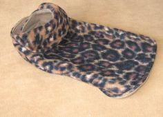 dog coat,size small, leopard print anti-pill Fleece, tan fleece lining, back length 12 inches