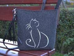 SUMMER SALE,Felt crossbody bag, Women felt bag,Homemade,  Felt shoulder bag, Cat design bag, Small Bag With Crossbody Strap by BPStudioDesign on Etsy