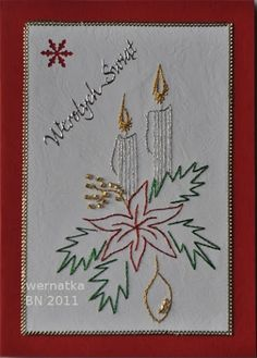The Latest Trend in Embroidery – Embroidery on Paper - Embroidery Patterns Christmas Embroidery Patterns, Embroidery Cards, Hand Embroidery Designs, Embroidery Stitches, Christmas Sewing, Christmas Crafts, Sewing Cards, String Art Patterns, Card Patterns