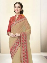 Exciting Net Beige and Red Designer Saree