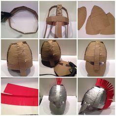 Tutorial disfraz de soldado romano casero Roman Soldier Helmet, Roman Soldier Costume, Cardboard Costume, Cardboard Crafts, Cardboard Animals, Bible Crafts For Kids, Diy For Kids, Eva Foam Armor, Cardboard Sculpture