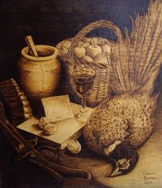 Bodegón (Gravures),  30x35 cm par garcia merina Pirograbado sobre madera sobre un Bodegón con Faisán