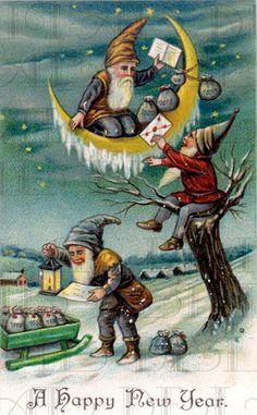 Gnomes Gnomes Gnomes  Holiday Card VINTAGE by DandDDigitalDelights, $1.99