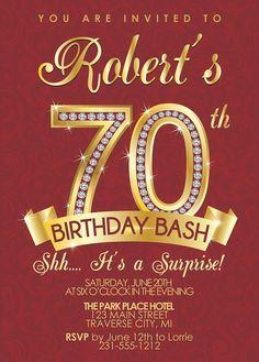 70th Birthday Invitation - Adult Birthday Party Invitation - Milestone Diamond Burgundy and Gold