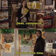"""As if all of that isn't emotional enough, as Dean's walking out the door, Rory picks up a box of cornstarch off a shelf in front of her and they smile. Now We Know What Happens With Rory's Love Life On """"Gilmore Girls"""" Gilmore Girls Dean, Gilmore Girls Quotes, Gilmore Girls Finale, Jared Padalecki Gilmore Girls, Rory Gilmore Style, Gilmore Girls Fashion, Stars Hollow, Best Tv Shows, Favorite Tv Shows"""