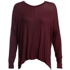 Sans Souci Burgundy boxy baby rib high-low tee shirt ($19) ❤ liked on Polyvore featuring tops, t-shirts, burgundy, sans souci, long sleeve tees, purple t shirt, purple tee and boxy tees