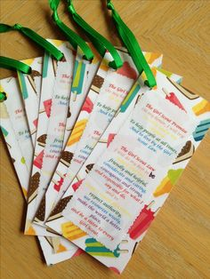 Girl Scout Law & Promise on a bookmark. To promote summer time reading.
