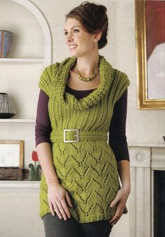 """KNITTING PATTERN LADIES 30-52"""" COWL-NECK BELTED TUNIC JUMPER DRESS LACY CHUNKY"""