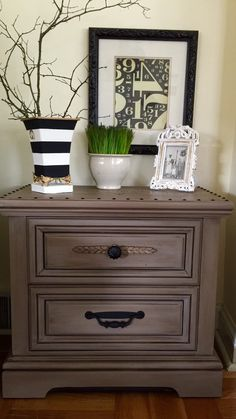ON RESERVE Set Wood Nightstands Chest Hand Painted In Annie Sloan Coco by ColorfulHomeDesigns on Etsy