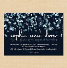 Invitación para una boda nocturna inspirada en las estrellas.
