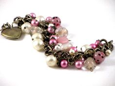 Pink Pearls Brass Heart Locket Cha Cha Charm Bracelet Vintage Laguna Baroque Pearls Pink Glass Beads Filigree on Etsy, Sold