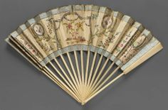 18th century, England - Fan - Paper leaf, ivory; painted paper