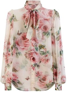 Dolce & Gabbana Silk Floral Shirt available to buy at Harrods.Shop clothing online and earn Rewards points. Cl Fashion, Fashion Outfits, Blouse Styles, Blouse Designs, Floral Blouse Outfit, Ruffle Blouse, Chiffon Shirt, Moda Floral, Mode Hijab