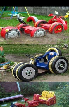 kinder diy playground natural playgrounds ideas for kids playground playground ideas concept criativo Outdoor Fun For Kids, Outdoor Play Areas, Backyard For Kids, Diy For Kids, Backyard Ideas, Tire Furniture, Diy Garden Furniture, Furniture Plans, Modern Furniture