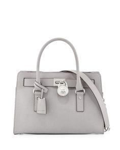 Hamilton Saffiano Satchel Bag, Pearl Gray
