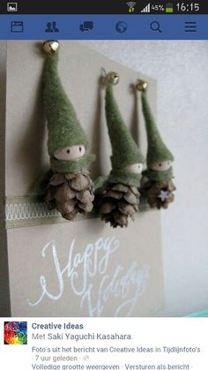 The tiny bells on the top of the festive green caps of these DIY Christmas decorations make these precious pine cone crafts even more Pine Cone Crafts to Add a Seasonal Touch to Your Home .Etsy の 2 Tiny Pine Cone Elves set of 3 ornament Noel Christmas, Christmas Projects, Winter Christmas, Holiday Crafts, Holiday Fun, Christmas Ornaments, Pinecone Ornaments, Homemade Christmas, Rustic Christmas