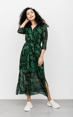 Jurk Marissa Groen Zwart   Lange Jurk Met Print   Guts & Gusto Wrap Dress, Dresses, Fashion, Vestidos, Moda, Fashion Styles, Dress, Fashion Illustrations, Gown
