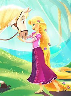 Tangled fan art Rapunzel and Maximus Disney Films, Disney And Dreamworks, Disney Pixar, Walt Disney, Disney Characters, Disney Rapunzel, Rapunzel Movie, Rapunzel Drawing, Princess Rapunzel