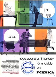 A delightful vintage French ad for Formica from 1960. #vintage #1960s #furniture #ads #home