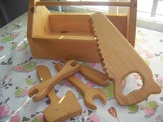 Child's Wooden Toolbox with Tools / CarryAlong by RamshackleVilla, $12.00