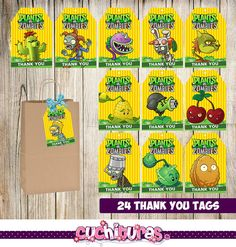 Plants Vs Zombie thank you tags for your events, provide additional details in your decorations in a unique way to keep all your guests surprised Thank You Tag Printable, Thank You Tags, Printable Tags, Zombie Birthday Parties, Zombie Party, P Vs Z, Zombie Kid, Ideas Para Fiestas, Wild Ones